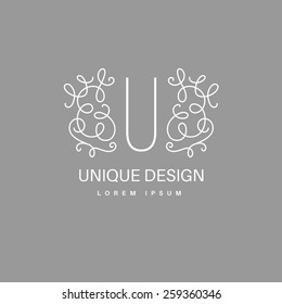 Simple and elegant logo design template. Vector monogram with floral border drawn in single simple lines. Linear decor around one letter.