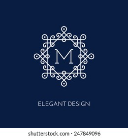 Simple and elegant monogram design template with letter M. Vector illustration.