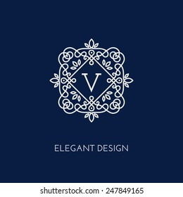 Simple and elegant monogram design template with letter V. Vector illustration.