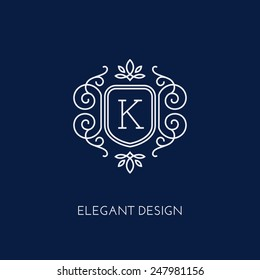 Simple and elegant monogram design template with letter K. Vector illustration.