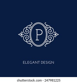 Simple and elegant monogram design template with letter P. Vector illustration.