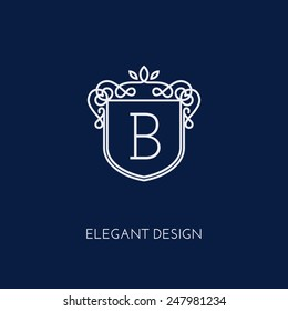 Simple and elegant monogram design template with letter B. Vector illustration.