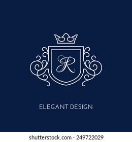 Simple and elegant monogram design template with letter R and crown. Vector illustration.