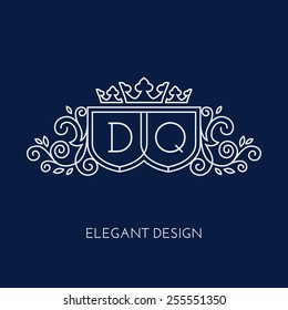 Simple and elegant monogram design template for two letters D Q with a triple crown. Vector illustration.