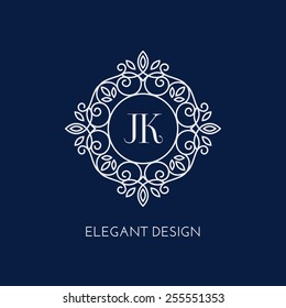Simple and elegant monogram design template with two letters J K. Vector illustration.