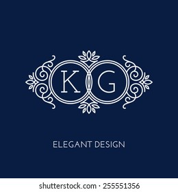 Simple and elegant monogram design template for two letters K G. Vector illustration.