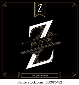 Simple and elegant monogram design template with letter Z. Vector illustration.