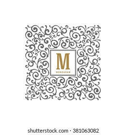 Simple and elegant monogram template with flourishes calligraphic ornament frame. Identity design for restaurant, cafe, shop, store, boutique, hotel, heraldic, fashion and etc. Vector illustration.