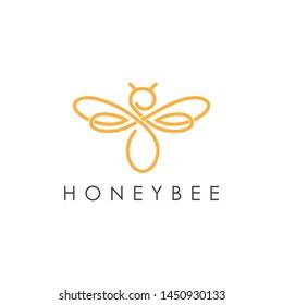 Simple elegant monoline honey bee logo design. Line art style logo design inspiration.