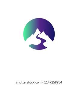 Simple elegant mountain icon. Circle logo for branding identity. Vector image.