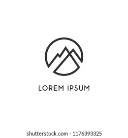 Simple elegant mountains logo for branding identity. Vector image.