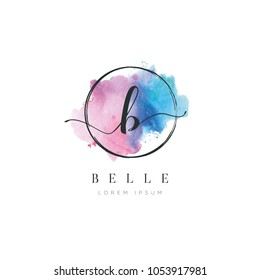 Simple Elegant Water Color Letter Type B Logo Sign Symbol Icon