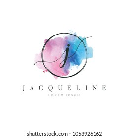 Simple Elegant Water Color Letter Type J Logo Sign Symbol Icon