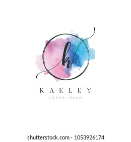 Simple Elegant Water Color Letter Type K Logo Sign Symbol Icon