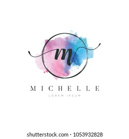 Simple Elegant Water Color Letter Type M Logo Sign Symbol Icon