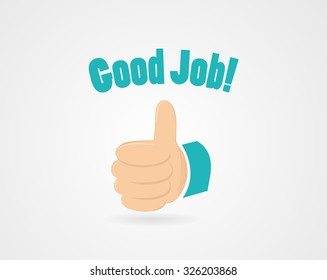 "Simple encouraging illustration - contains words ""good job"" and thumb up"