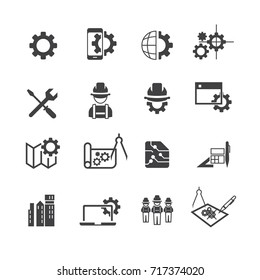 Simple engineer icons set,Vector
