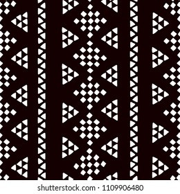 Simple ethnic black and white triangles and rhombus seamless pattern, vector