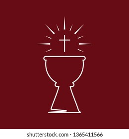 Simple eucharist symbols of bread and wine with the symbols of the Passion of Jesus Christ.