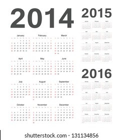 Simple european 2014, 2015, 2016 year vector calendars