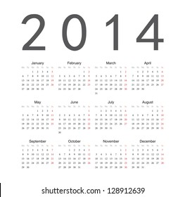 Simple european 2014 year vector calendar