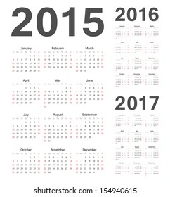 Simple european 2015, 2016, 2017 year vector calendars
