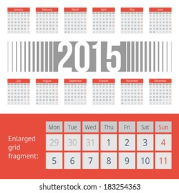 Simple european calendar grid for 2015 year. Clean and neat. Only plain colors - easy to recolor. Vector illustration.