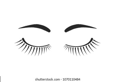 simple eyelashes and eyebrows black logo. concept of emblem for microblading, micropigmentation, botox or permanent makeup in beauty salon. flat style trend modern graphic art design on white