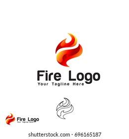 simple f 3d fire logo