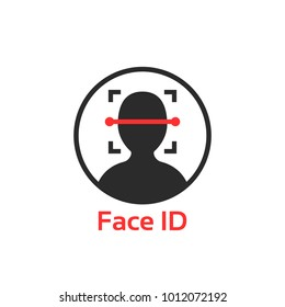 simple face id scanner icon. concept of facial scanning like recognize person or futuristic virtual reality access sign. flat trend modern logotype graphic design element isolated on white background