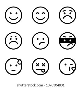 simple face smiley icon vectors hand drawn set