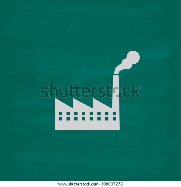 Simple Factory. Icon. Imitation draw with white chalk on green chalkboard. Flat Pictogram and School board background. Vector illustration symbol