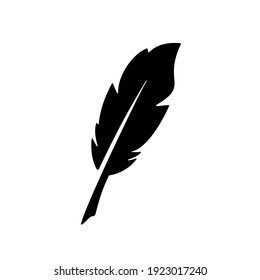 simple Feather quill pen logo icon, classic stationery illustration isolated on white background