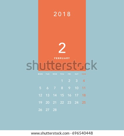 simple february 2018 calendar week starts from monday