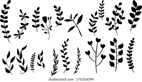 Simple Fern Vector Shapes - Leaves and Foliage