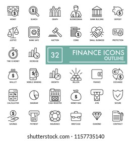 Simple finance icons set. Universal finance vector icons. Flat thin outline design. eps 10