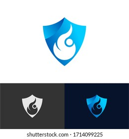 Simple Fire Shield Concept logo icon vector design