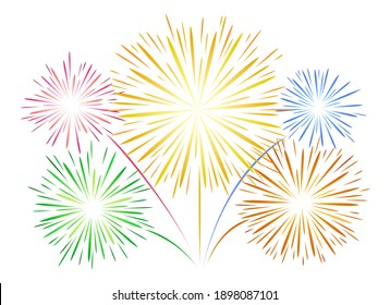 Simple fireworks on white. Flat lines vector firework, new year linear festival salut for shining celebration background design