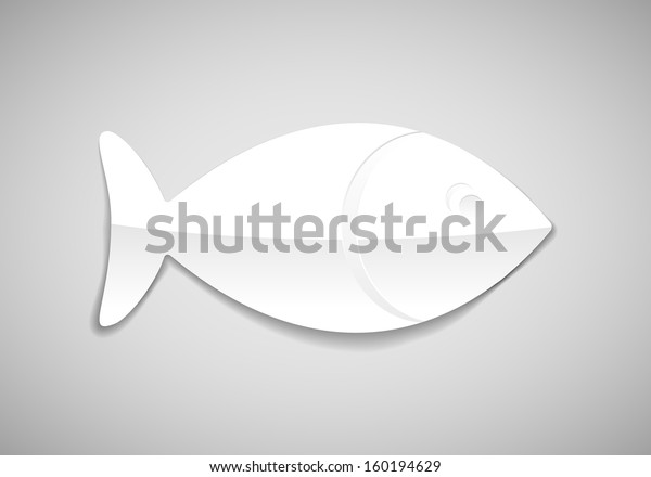 simple fish icon in paper style