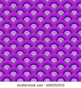 Simple fish scales squama background, vector seamless fabric pattern, tiled textile print. Classic japanese squama scales seamless arc tiles mosaic. Roof pattern.