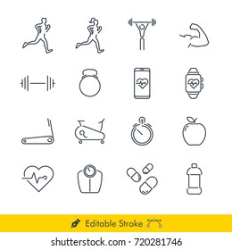 Simple Fitness Icons / Vectors Set - In Line / Stroke Design with Editable Stroke
