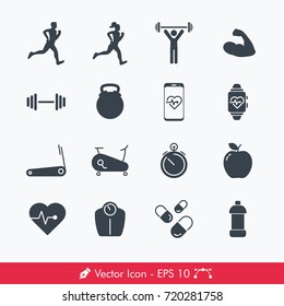 Simple Fitness Icons / Vectors Set