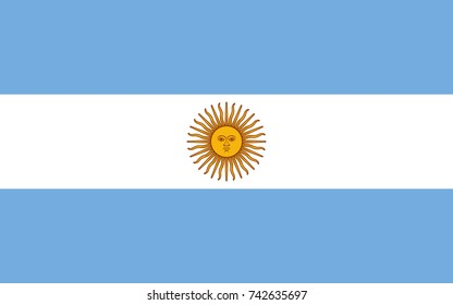 Simple flag of Argentina. Argentine flag. Correct size, proportion, colors