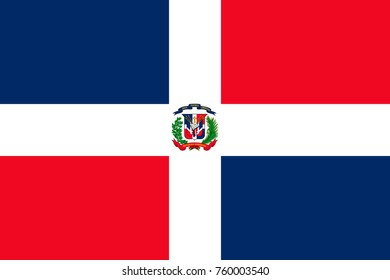 Simple flag of Dominican Republic . Correct  proportion