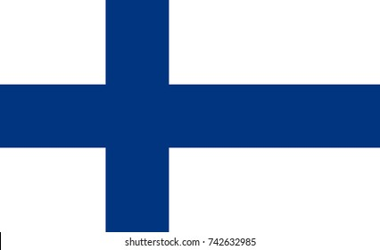 Simple flag of Finland. Finnish flag. Correct size, proportion, colors.