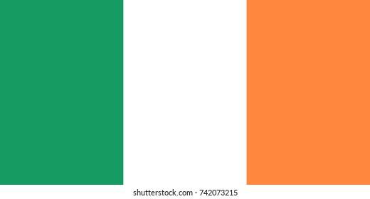 Simple flag of Ireland. Irish flag. Correct size, proportion, colors