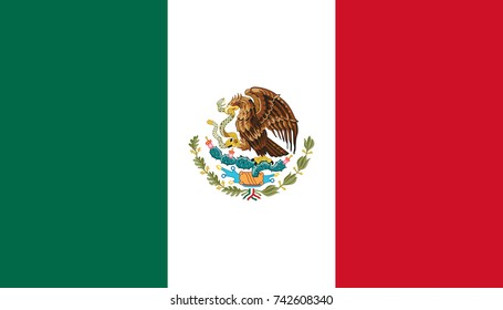 Simple flag of Mexico. Mexican flag. Correct size, proportion, colors