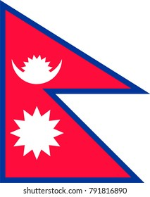 Simple flag of Nepal. Correct size, proportion, colors