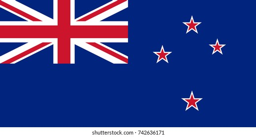 Simple flag of New Zealand. New Zealander flag. Correct size, proportion, colors