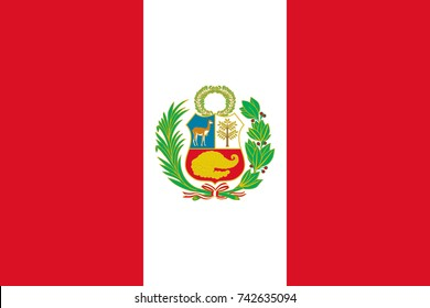 Simple flag of Peru. Peruvian flag. Correct size, proportion, colors